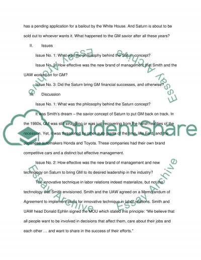Project Saturn essay example