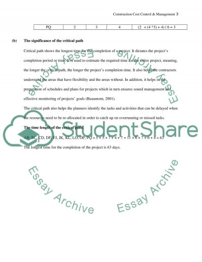 Construction Cost Control & Management essay example