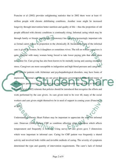 Informal Care essay example