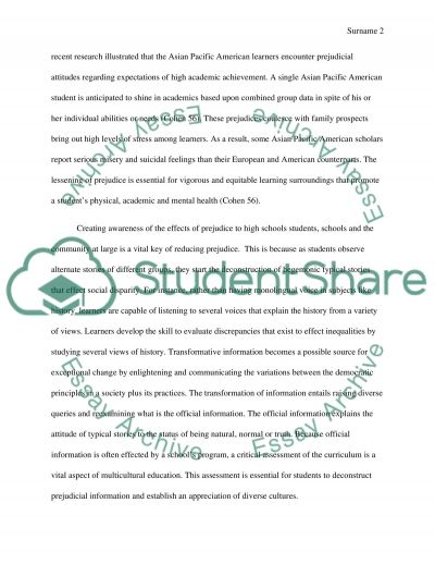 Teaching Prejudice Reduction in High School Students, School and the Community essay example