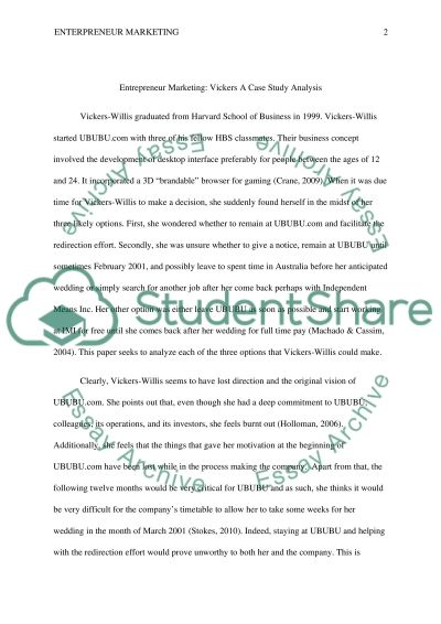 Entrepreneur Marketing: Vickers A Case Study Analysis essay example