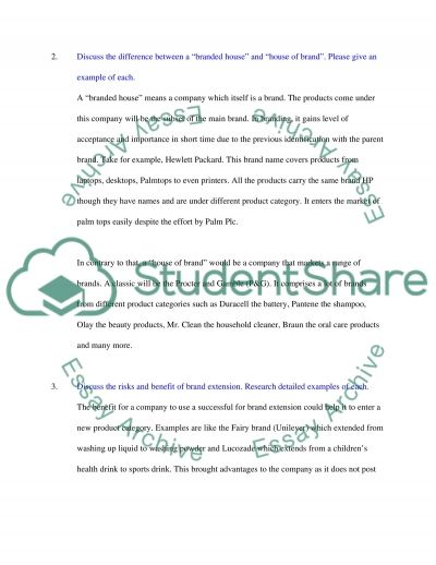 Marketing (brand management question) essay example