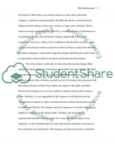 Transformation of Shell - 4 essay example
