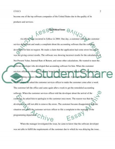 Business Ethics Problem essay example