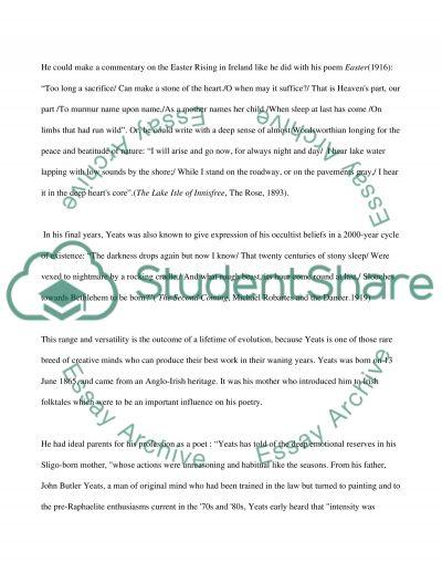 William Butler Yeats essay example