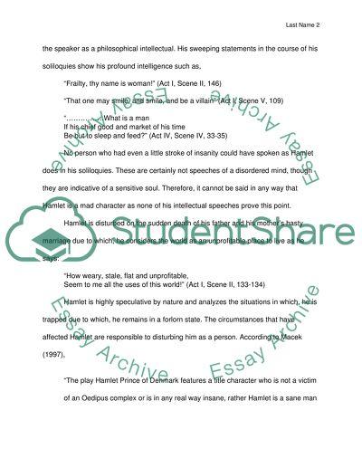 Was hamlet mad essay