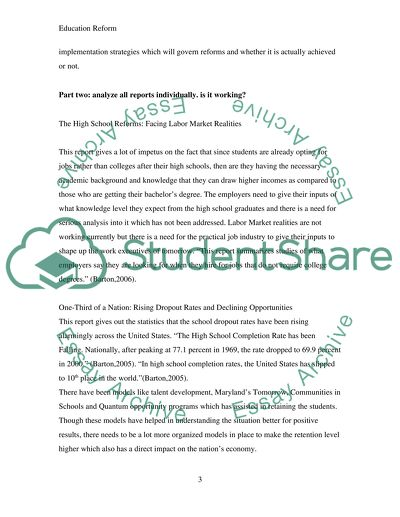 Essays on education reform