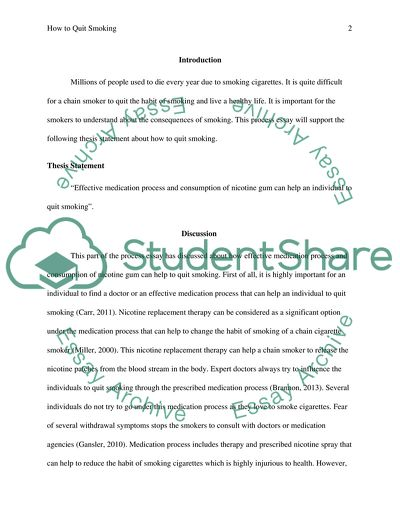 how to quit smoking essay example