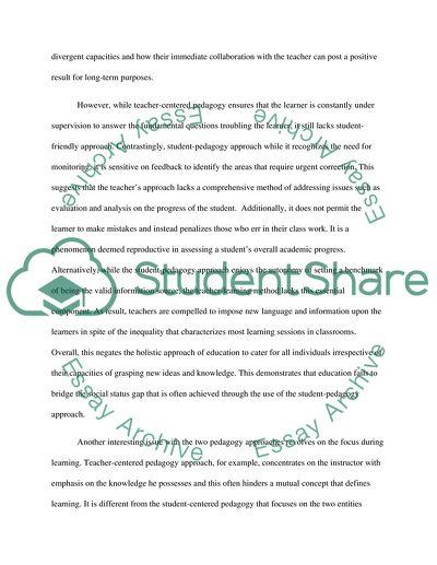 Teacher-Centered or Student-Centered Pedagogy