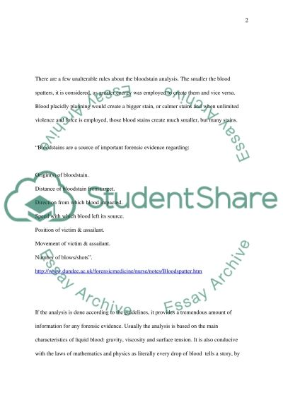 Blood Spatter Analysis Forensic Science essay example