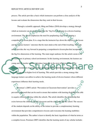 Reflective Article Review Log