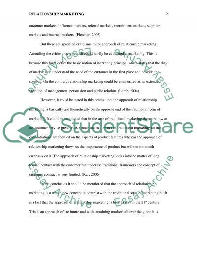 The Idea of Relationship Marketing essay example