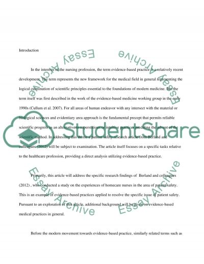 Research methods used in evidence based practice essay example
