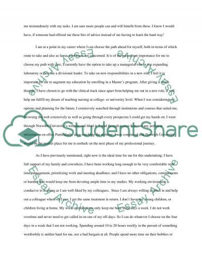 MSN essay of intent essay example