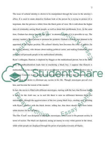 Crash Cultural Identity Assignment essay example