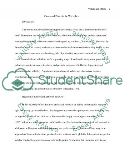 Ethics and Values in the Work Place essay example