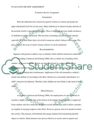 Evaluative Review Assignment essay example