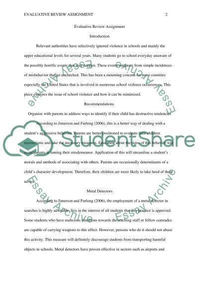 Evaluative Review Assignment