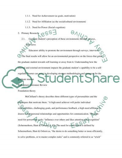 Self-Regulation and graduate students essay example