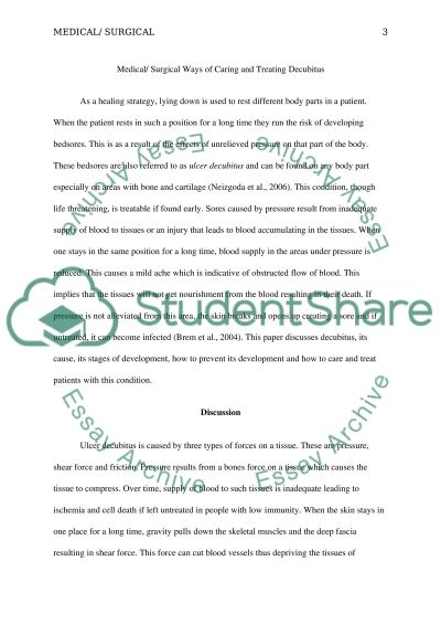 Medical/Surgical Ways of Caring and Treating Decubitus Essay example