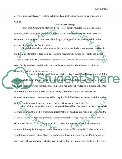 Positive Behavior Intervention Plan Case Study Example  Topics And