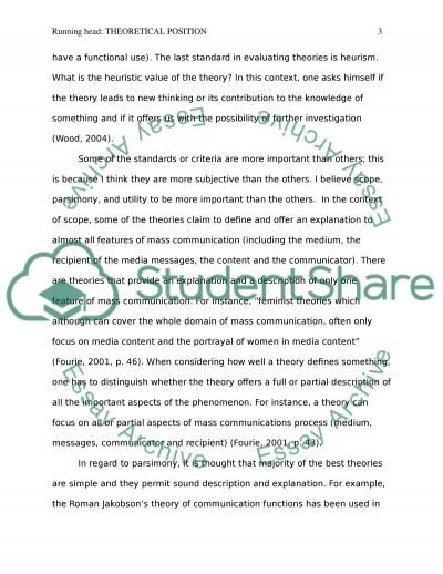 Theoretical Position. Standards for Evaluating Theories. Essay example