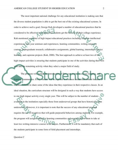 American College Student in Higher Education essay example