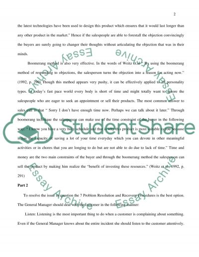 Personal Selling and Customer Focus essay example
