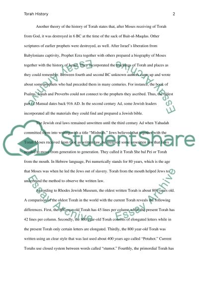 Torah History Research Paper essay example