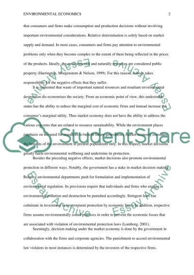 Environmental Economics Essay example