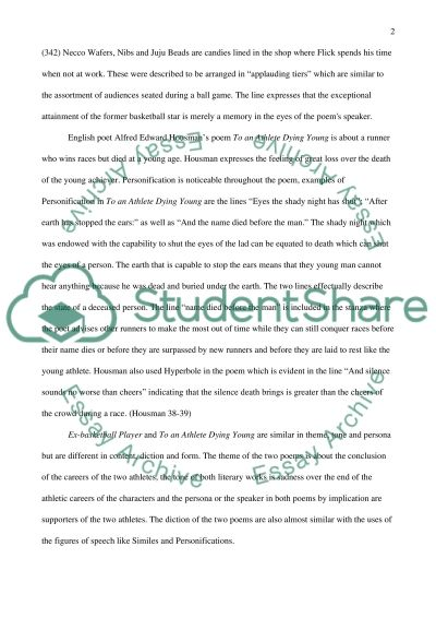 comparison and contrast of poem to an athlete dying young essay related essays