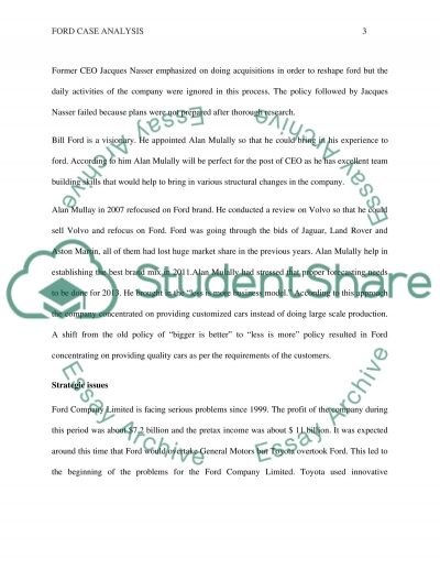 Ford Company Limited Case Analysis: Strategic Issues essay example