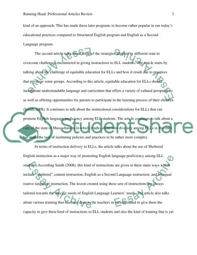 Professional Articles Review essay example