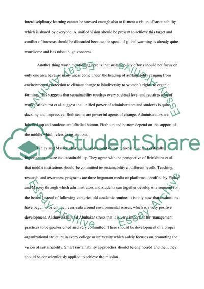 Environmental Sustainability and Education
