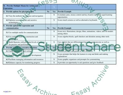 Universal Design for Learning (UDL) Guidelines essay example