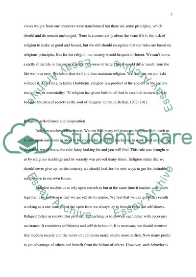 Does Religion Stabilize Society essay example