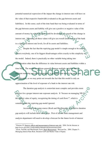 Interest Rate Risk Assignment essay example