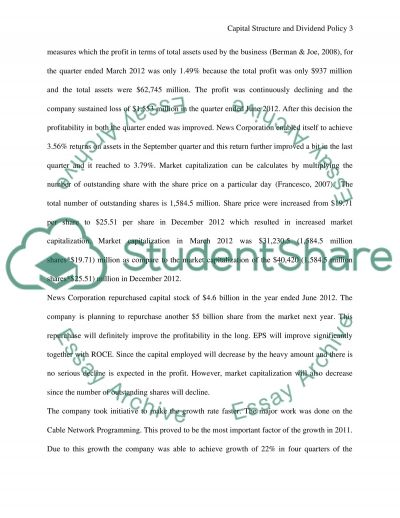 Corporate Valuation, Capital Structure and Dividend policy essay example