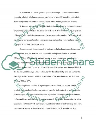 Classroom Management - Setting Expectations essay example