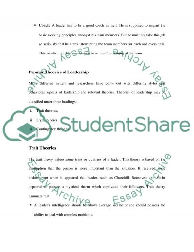 What makes a Good Leader Popular Theories of Leadership essay example