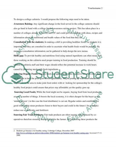 Healthy College Cafeteria essay example