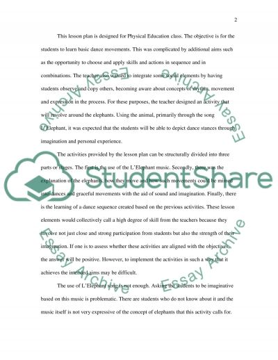Critical Analysis of Linked Lesson Plans essay example