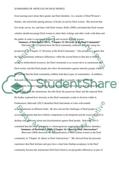 Type a summary for each of the 4 readings that are assigned this wk essay example