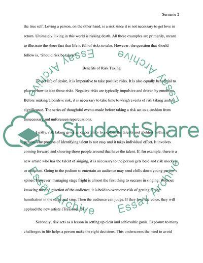 Dissertation risk student taking