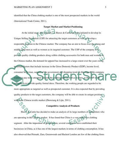 Marketing plan assignment 2