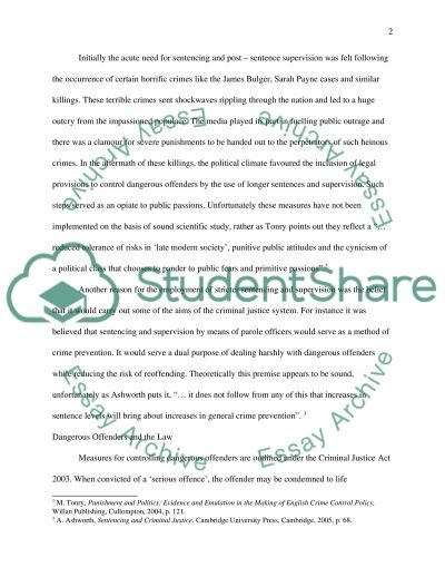 Sentence Supervision Essay example