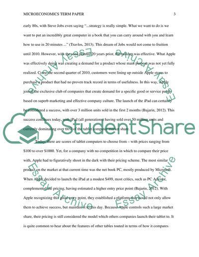Microeconomics Term Paper: Apples iPad