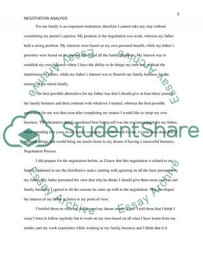 Real life negotiation analysis essay example