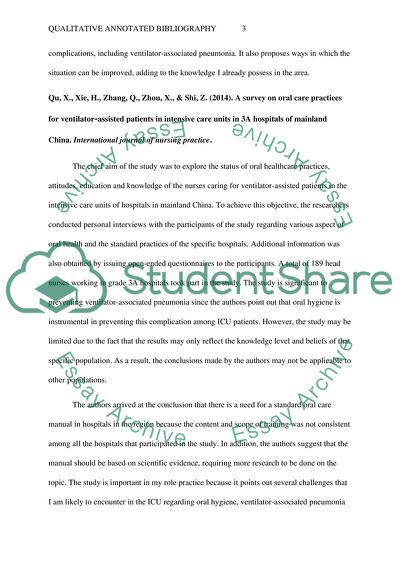 Qualitative Annotated Bibliography