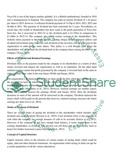 Dividend policy essay